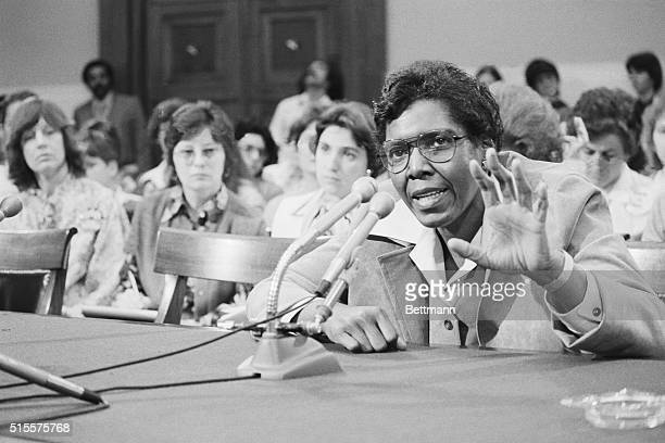Representative Barbara Jordan tells a House Judiciary subcommittee that she favors extension of the ratification period for the proposed Equal Rights...