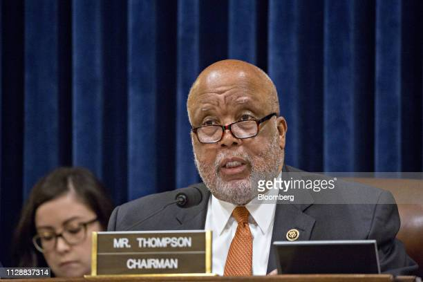 Representative Bennie Thompson a Democrat from Mississippi and chairman of the House Judiciary Committee speaks during a hearing with Kirstjen...