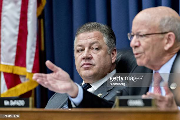 Representative Bill Shuster a Republican from Pennsylvania and chairman of the House Transportation and Infrastructure Committee listens as ranking...