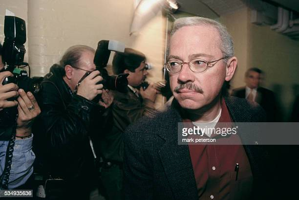 Representative Bob Barr who led the charge to impeach President Bill Clinton is seen with press photographers in Washington DC