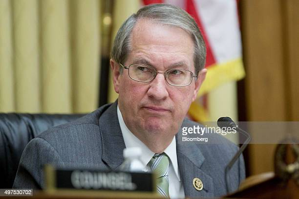 Representative Bob Goodlatte a Republican from Virginia and chairman of the House Judiciary Committee listens during a hearing with Loretta Lynch US...