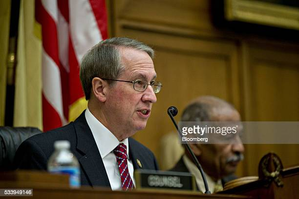 Representative Bob Goodlatte a Republican from Virginia and chairman of the House Judiciary Committee left makes an opening statement as...