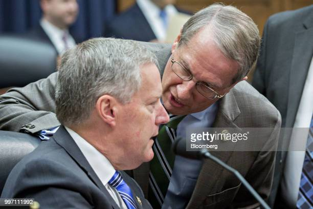 Representative Bob Goodlatte a Republican from Virginia and chairman of the House Judiciary Committee right talks to Representative Mark Meadows a...