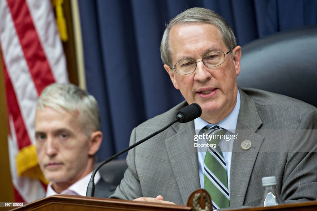 Representative Bob Goodlatte, a Republican from Virginia and chairman of the House Judiciary Committee, speaks as Representative Trey Gowdy, a Republican from South Carolina, left, listens during a joint House Judiciary, Oversight and Government Reform Committees hearing with Federal Bureau of Investigation (FBI) agent Peter Strzok, not pictured, in Washington, D.C., U.S., on Thursday, July 12, 2018. Strzok, the FBI agent who exchanged anti-Trump texts with a bureau lawyer, denied he did anything improper, as he faced a hearing called by Republican lawmakers who say he personifies bias that tainted the agency's Russia investigation early on. Photographer: Andrew Harrer/Bloomberg via Getty Images