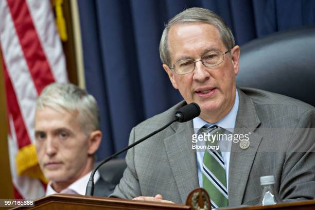 Representative Bob Goodlatte a Republican from Virginia and chairman of the House Judiciary Committee speaks as Representative Trey Gowdy a...
