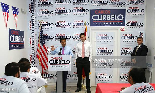 US Representative Carlos Curbelo talks to his volunteers during the visit of House Speaker Paul Ryan at Curbelo Campaign Headquarters on Wednesday...