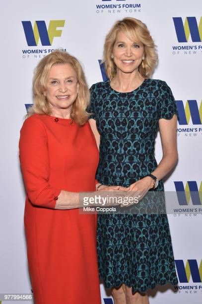 S Representative Carolyn B Maloney and Paula Zahn attend the 8th Annual Elly Awards hosted by the Women's Forum of New York at The Plaza Hotel on...