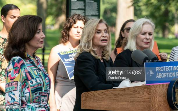 Representative Carolyn Maloney, NYS Governor Kathy Hochul, U. S. Senator Kirsten Gillibrand attend gathering of elected officials and advocates in...