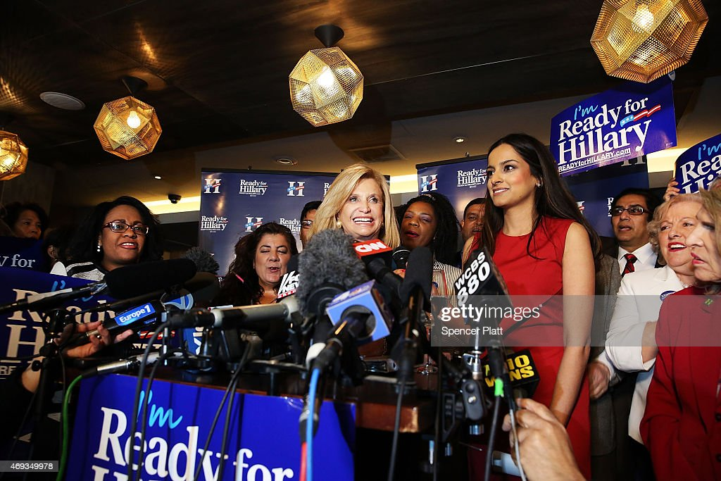 U.S. Representative Carolyn Maloney speaks to supporters of Hillary Rodham Clinton's yet to be announced presidential campaign at a rally in Manhattan on April 11, 2015 in New York City. It is expected that Clinton will end months of speculation and launch her anticipated 2016 presidential campaign on Sunday with an announcement on social media. Following that it is believed that candidate Clinton will travel to Iowa and New Hampshire, seeking to connect directly with voters in more intimate settings.