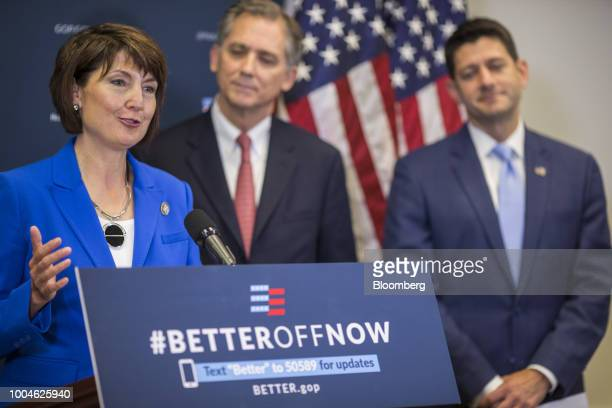 Representative Cathy McMorris Rodgers a Republican from Washington left speaks during a news conference on Capitol Hill in Washington DC US on...
