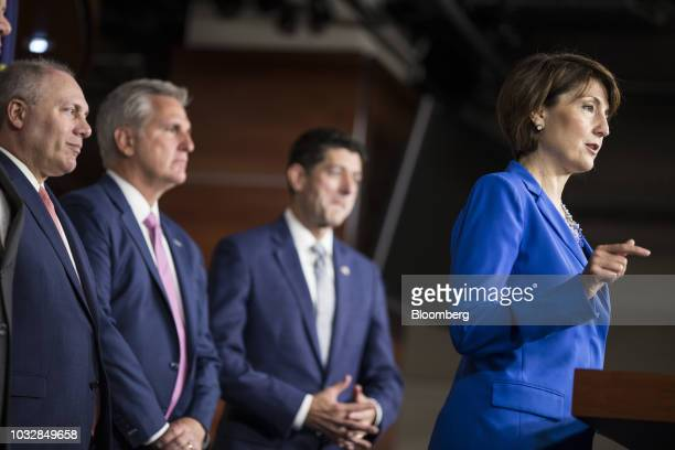 Representative Cathy McMorris Rodgers a Republican from Washington speaks as House Majority Whip Steve Scalise a Republican from Louisiana from left...