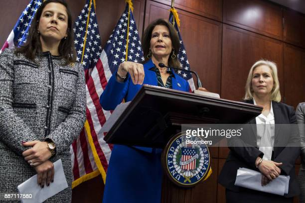 Representative Cheri Bustos a Democrat from Illinois center speaks during a news conference unveiling bipartisan legislation to prevent sexual...
