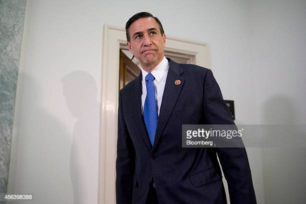 Representative Darrell Issa a Republican from California and chairman of the House Oversight and Government Reform Committee exits a hearing room in...