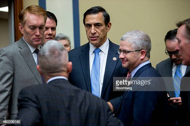Representative Darrell Issa a Republican from California and chairman of the House Oversight Committee center arrives to a hearing with Jonathan...