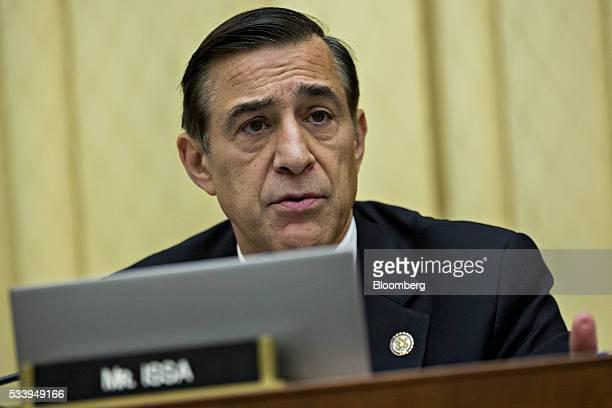 Representative Darrell Issa a Republican from California questions Representative Jason Chaffetz a Republican from Utah and chairman of the House...