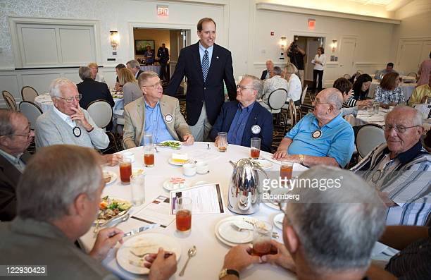Representative Dave Camp a Republican from Michigan and chairman of the House Ways and Means Committee speaks to voters at a Rotary Club meeting in...