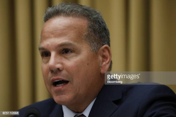 Representative David Cicilline a Democrat from Rhode Island asks a question during a House Judiciary Subcommittee hearing on the proposed merger of...