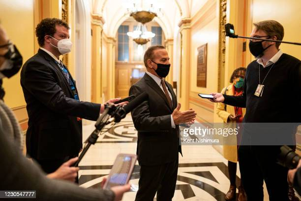 Representative David Cicilline speaks with reporters on Capitol Hill, nearly a week after a pro-Trump insurrectionist mob breached the security of...