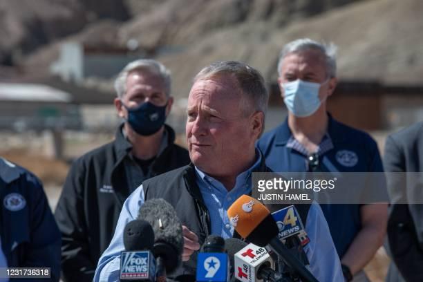 Representative David Joyce addresses the press during the congressional border delegation visit to El Paso, Texas on March 15, 2021. - President Joe...