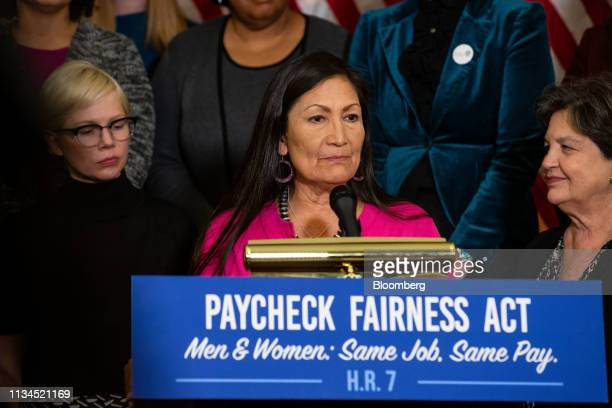Representative Deb Haaland a Democrat from New Mexico and vice chair of the Democratic Women's Caucus center speaks during a news conference for...