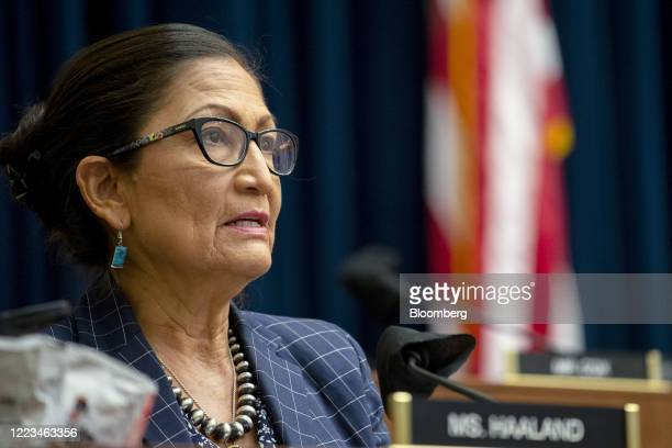 Representative Deb Haaland a Democrat from New Mexico speaks during a House Natural Resources Committee hearing in Washington DC US on Monday June 29...