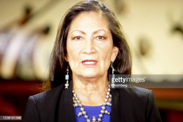 Representative Deb Haaland a Democrat from New Mexico speaks during the virtual Democratic National Convention seen on a laptop computer in Tiskilwa...