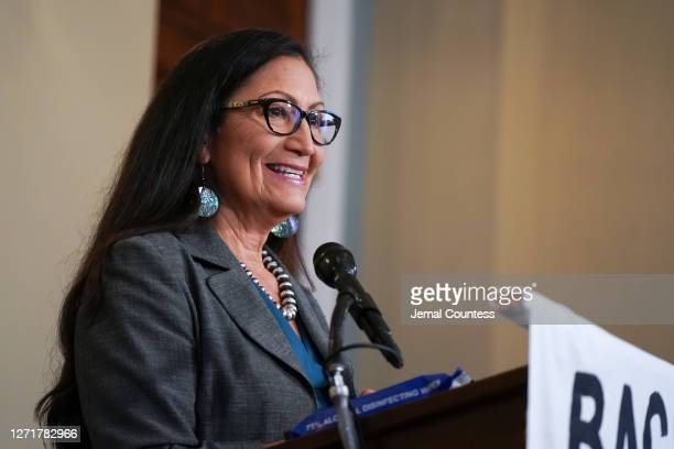 Representative Deb Haaland at the Back the Thrive Agenda press conference at the Longworth Office Building on September 10, 2020 in Washington, DC.