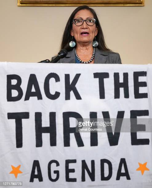 Representative Deb Haaland at the Back the Thrive Agenda press conference at the Longworth Office Building on September 10 2020 in Washington DC