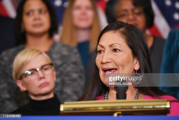 Representative Deb Haaland DNM speaks at an event to celebrate the Paycheck Fairness Act on Equal Pay Day in the Rayburn Room of the US Capitol in...