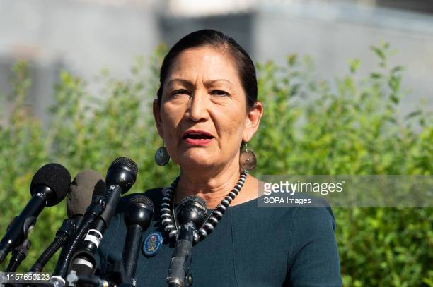Representative Deb Haaland speaks at a press conference during the introduction of the Zero Waste Act in Congress at the Capitol in Washington, DC.