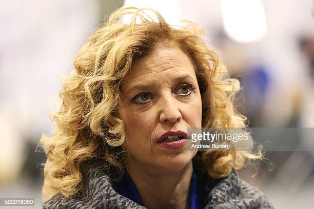 S Representative Debbie Wasserman Schultz and chair of the Democratic National Committee speaks to a reporter before the democratic debate on...