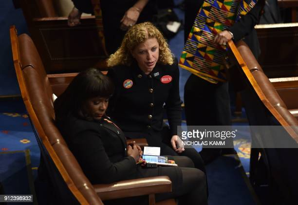 US Representative Debbie Wasserman Schultz Democrat of Florida awaits the State of the Union address at the US Capitol in Washington DC on January 30...