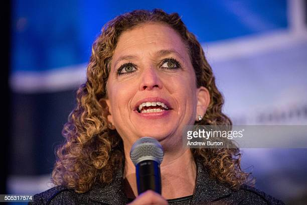 S Representative Debbie Wasserman Schultz who is also the Chair of the Democratic National Committee speaks at the First in the South Dinner prior to...