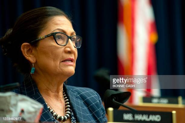 "Representative Debra Haaland speaks during a House Natural Resources Committee hearing on ""The US Park Police Attack on Peaceful Protesters at..."