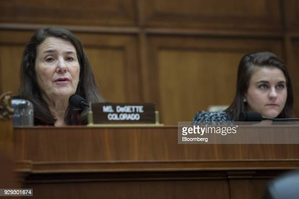 Representative Diana DeGette a Democrat from Colorado left speaks during a House Oversight and Investigations Subcommittee hearing in Washington DC...