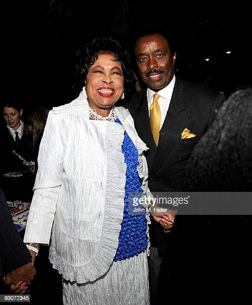 Representative Diane E Watson and former NFL Player and CBS Sportscaster Jim Hill attend the birthday celebration and fundraiser for Representative...