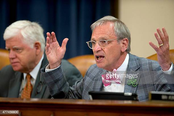 Representative Earl Blumenauer a Democrat from Oregon questions witnesses during a House Ways and Means Committee hearing on longterm financing of...