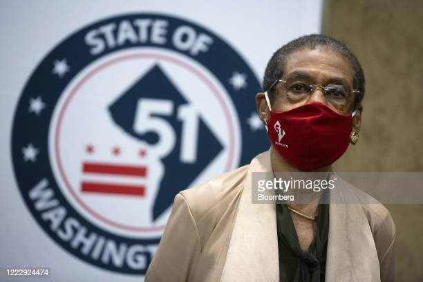 Representative Eleanor Holmes Norton a Democrat from the District of Columbia wears a protective mask while listening during a news conference ahead...