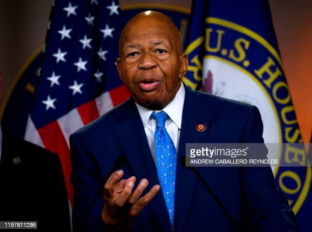 US Representative Elijah Cummings Democrat of Maryland and Chairman of the House Oversight and Reform Committee gestures as he delivers a press...