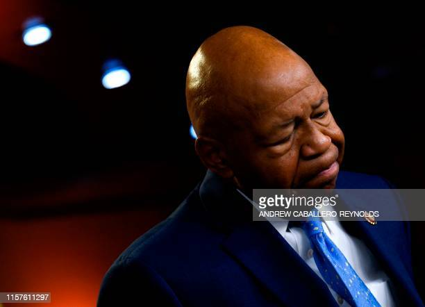 US Representative Elijah Cummings Democrat of Maryland and Chairman of the House Oversight and Reform Committee pauses as he delivers a press...