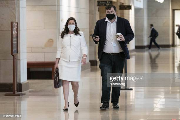 Representative Elise Stefanik, a Republican from New York, left, wears a protective mask while arriving to a House GOP meeting at the U.S. Capitol in...
