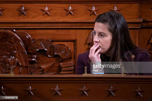 Representative Elise Stefanik a Republican from New York listens during a House Intelligence Committee impeachment inquiry hearing on Capitol Hill...