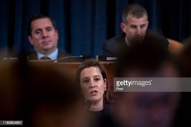 Representative Elise Stefanik, a Republican from New York, questions witnesses during a House Intelligence Committee impeachment inquiry hearing on...