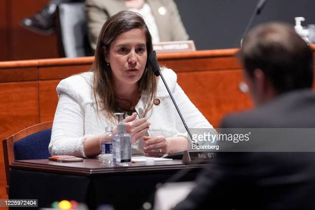 Representative Elise Stefanik a Republican from New York questions Mark Esper US secretary of defense right during a House Armed Services Committee...