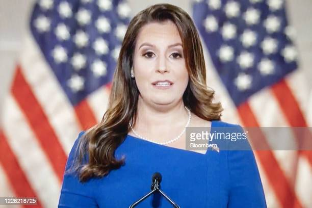 Representative Elise Stefanik, a Republican from New York, speaks during the Republican National Convention seen on a laptop computer in Tiskilwa,...