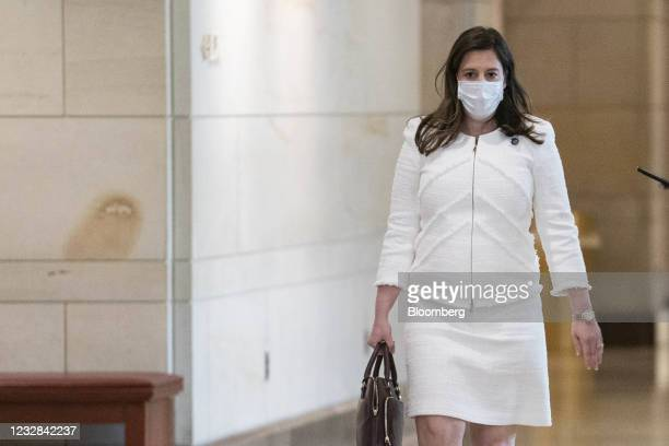 Representative Elise Stefanik, a Republican from New York, wears a protective mask while arriving to a House GOP meeting at the U.S. Capitol in...