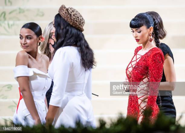 Representative for New York's 14th congressional district Alexandria Ocasio-Cortez and actress Megan Fox attends The 2021 Met Gala Celebrating In...