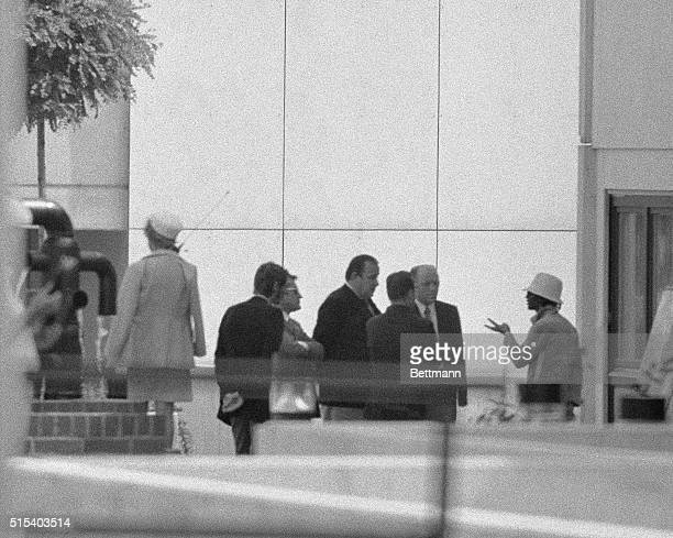 A representative for the terrorists who held a dozen Israeli athletes hostage at the 1972 Munich Games talks with West German Interior Minister...