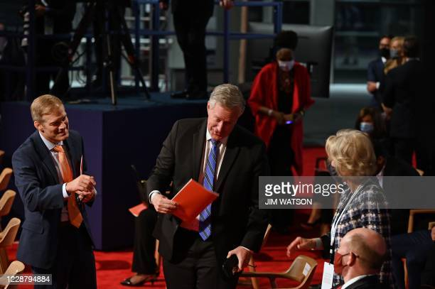 US Representative from Ohio Jim Jordan White House Chief of Staff Mark Meadows are seen ahead of the first presidential debate at the Case Western...