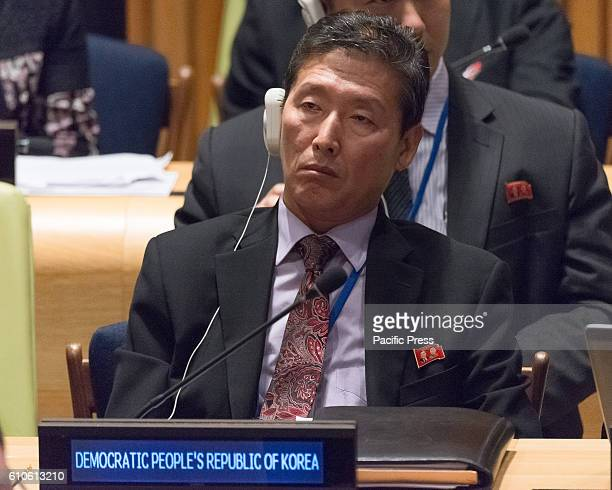 A representative from the Democratic People's Republic of Korea attends the plenary meeting On the final day of the 71st United Nations General...